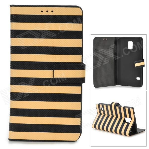 Zebra-Stripe Style Protective PU Leather + PC Case for Samsung Galaxy S5 - Yellow + Black nillkin protective pu leather pc case cover for samsung galaxy alpha g850f black