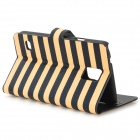 Zebra-Stripe Style Protective PU Leather + PC Case for Samsung Galaxy S5 - Yellow + Black