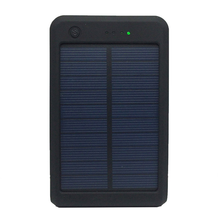 Portable 15000mAh Li-ion Battery Dual-USB Solar Powered Power Bank w/ LED Indicator - Black sony cp s15 s 15000 mah