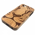 Tiger Pattern Detachable Protective Wood Back Case for IPHONE 5 / 5S - Yellow