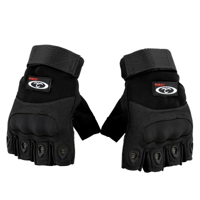 OUMILY Outdoor Tactical Half-finger Gloves - Black (Size L / Pair)