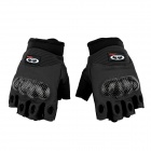 OUMILY  Outdoor Tactical Half-Finger Gloves -  Black + Dark Grey (Size L / Pair)