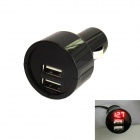 Kinrener UV02-B Car Voltage Monitor 3A Dual USB Car Cigarette Lighter Charger - Black (12~24V)