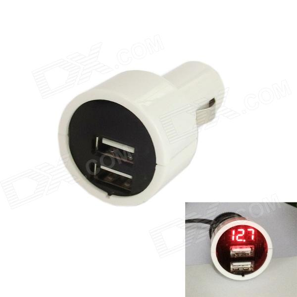 Kinrener UV02-W Car Voltage Monitor 3A Dual USB Car Cigarette Lighter Charger - White (12~24V)
