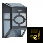 CMI 0.2W 2-LED Yellow Light Solar Wall Lamp / Lawn Lamp / Garden Light - White + Black