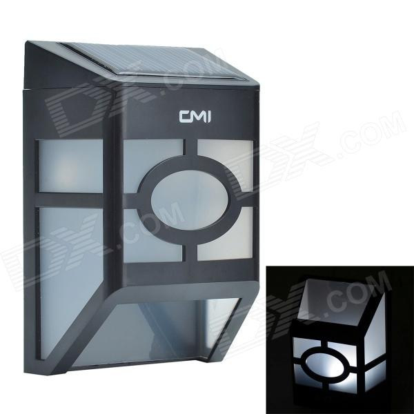 CMI 0.2 W 2-LED White Light Solar Wall Lamp / Lawn Lamp / Garden Light - Black + White cmi 5w 40lm 3500k 3 led light control pir control warm white solar wall lamp silvery white 12v