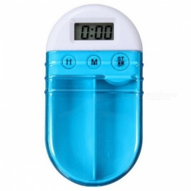 Electronic Timing Remind Pill Box Case - Blue (1 x CR2450)
