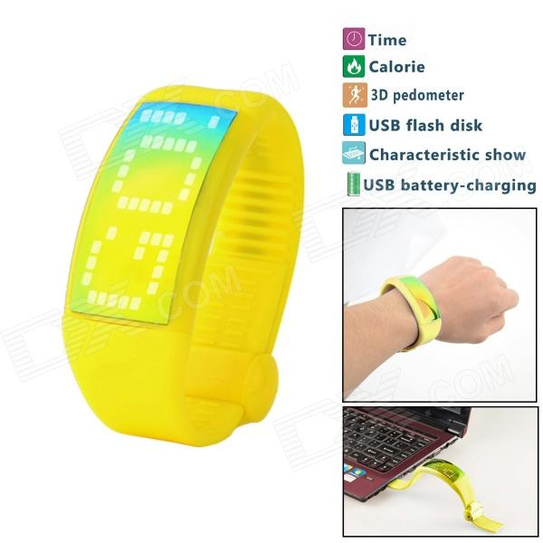 3D Fashionable Calorie Pedometer USB Flash Disk Multifunctional Sport Smart Watch - Yellow
