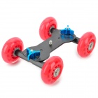 Desktop Super Mute 4-Wheel Rail Car for Camera - Red + Black + Blue