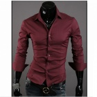 Stylish Men's Slim Fit Shirt -  Red Wine (Size-XXL)
