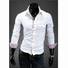 Men's Unique Clamshell Design Pocket Slim Long-sleeved Shirt - White (XXL)