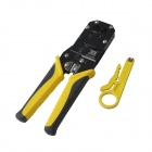 BOSI BS433268 Modular Plug Crimper Pliers Tool w/ Cutter for 8P8C Network Cable - Yellow + Black