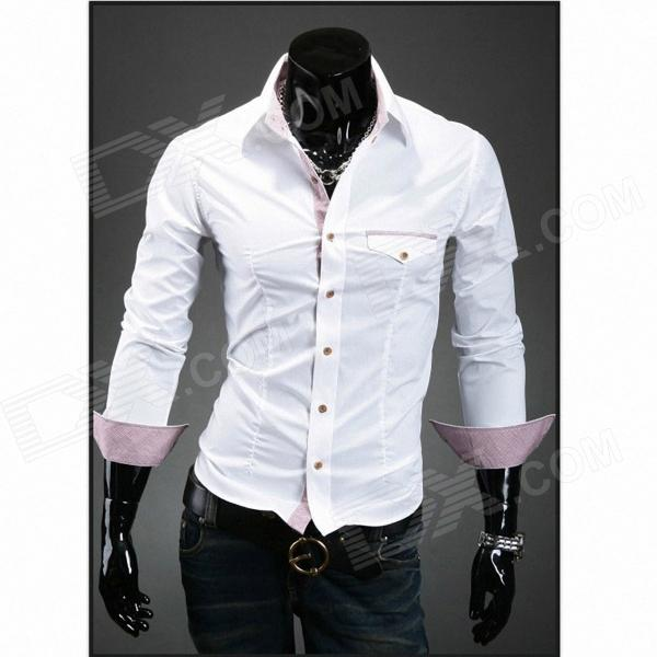 Men's Unique Clamshell Design Pocket Slim Long-sleeved Shirt - White (L)