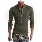 Fashion False Two-piece Long Sleeves T-shirt - Green (L)