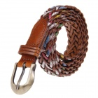Casual Women Pin Buckle Braided Faux Leather Waist Belt - Dark Brown+Multi-colour