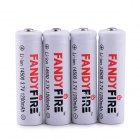 FandyFire ZS-02 14500 3.7V 750mAh Lithium Rechargeable Battery - White + Black + Red (4 PCS)
