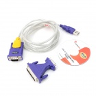 YXB-11B USB to RS232 Serial Adapter Cable + 9-pin to 25-pin Adapter - Purple + Yellow + Multicolored