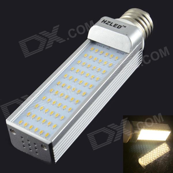 HZLED E27 7W 660lm 3000K 66 x SMD 3014 LED Warm White Light Lamp - White + Silver (AC 85~265V) hzled e27 9w 810lm 6000k 96 x smd 3014 led white light lamp bulb white silver ac 85 265v