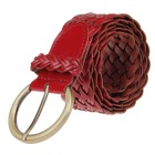 Casual All-match Women Pin Buckle Braided Faux Leather Waist Belt - Red