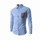 8677 Fashionable Men's Slim Grid Stitching Long-sleeved Shirt - Sky Blue (Size-XL)