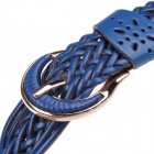 Simple Casual Women's Pin Buckle Braided PU Leather Waist Belt - Blue