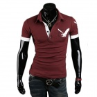 Stylish Men's Short-sleeved Eagle Printed T-shirt - Wine Red (XL)