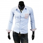 Stylish Men's Contrast Color Stripe Leisure Long-sleeved Shirt - Sky Blue (XL)