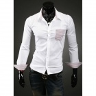 Stylish Men's Contrast Color Stripe Leisure Long-sleeved Shirt - White (Size-XL)