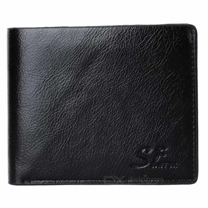 Fashionable Classic Men's Short Wallet - Black