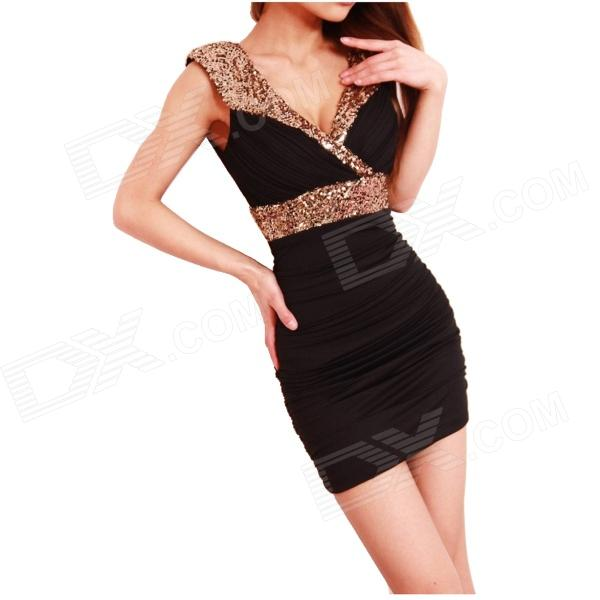 Stylish Package Buttocks Sequined Dress - Black (Free size)  muchuan cloth 2014 european restore ancient ways trend man single shoulder package diagonal package ma am leisure time package