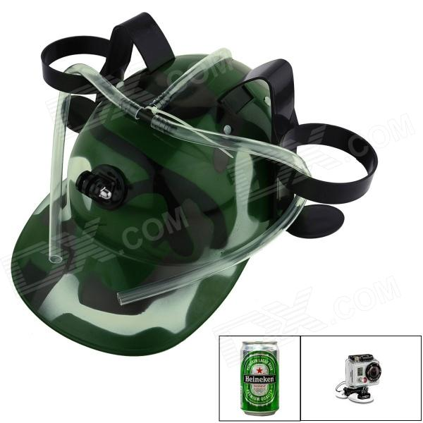 OUMILY Multifunctional Beer Cap for GoPro Hero 4 / 2 / 3 Camera - Army Green Camouflage unique beer drinking hard hat camouflage green