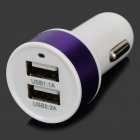 Universal Dual USB Output Car Charger for Cellphone+ More - White + Purple
