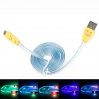 Smiling Face Micro USB Male to USB Male Data Charging Cable - Blue + Yellow (95cm)