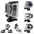 Waterproof Case w/ Individual Aluminum Alloy Lens Strap Ring for GoPro Hero 3+ / 3 - Grey + Black