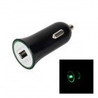 Mini USB Car Charger w/ Green Light - Black