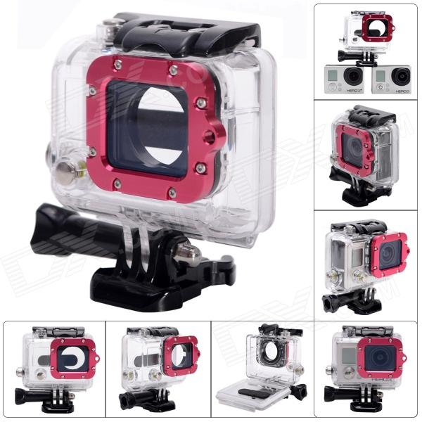 Waterproof Case w/ Individual Aluminum Alloy Lens Strap Ring for GoPro Hero 3+/3 - Deep Pink + BlackBags &amp; Cases<br>Form ColorBlack + Deep Pink + Multi-coloredShade Of ColorRedMaterialABS + acrylic + glass + aluminum alloyQuantity1 DX.PCM.Model.AttributeModel.UnitCompatible BrandGoProCompatible ModelsHero 3+ / Hero 3Water ResistantOthers,45m WaterproofAnti-ShockNoSizeOthers,8.5 x 8 x 5cmInner Dimension7 x 5.5 x 3cmDimension8.5 x 8 x 5 DX.PCM.Model.AttributeModel.UnitOther Features45m WaterproofCompatible ModelsOthers,GoPro Hero 3+ / Hero 3Packing List1 x Case with Red Lens Stra ring<br>