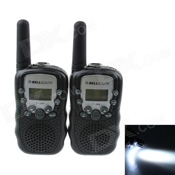 Handheld 409MHz-410MHz 22-CH Walkie Talkie / Interphone - Black (2PCS)Walkie Talkies<br>Form  ColorBlackBrandBELLSOUTHModel-Quantity2 DX.PCM.Model.AttributeModel.UnitMaterialABSFrequency Range409MHz-410MHzChannel22Frequency Stability2.5 DX.PCM.Model.AttributeModel.UnitOutput Power1 DX.PCM.Model.AttributeModel.UnitWorking Voltage   1.5 DX.PCM.Model.AttributeModel.UnitWorking Distance0.5~1KMEncryptionCTCSSBattery CapacityNO DX.PCM.Model.AttributeModel.UnitStandby Time48 DX.PCM.Model.AttributeModel.UnitWorking Time15 DX.PCM.Model.AttributeModel.UnitOther FeaturesProduct uses 4 x AAA batteries (not included)Packing List2 x Walkie talkie1 x English user manual<br>