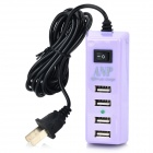 Portable USB 4-Port US Plug Power Charger for Tablets / Cellphone / PSP - Light Purple + Black