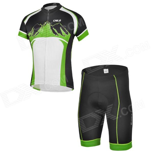 CHEJI ZT-02 Outdoor Cycling Polyester Short-Sleeve T-shirt + Shorts for Men - Green + Black (M) arsuxeo ar608s quick drying cycling polyester jersey for men fluorescent green black l
