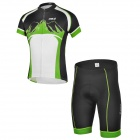 CHEJI ZT-02 Outdoor Cycling Polyester Short-Sleeve T-shirt + Shorts for Men - Green + Black (M)
