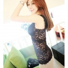 BEISITE B916 Fashion Lace V-Neck Vest for Women w/ Breast Pads - Black (Free Size)