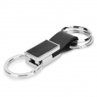 4121 Leather Leather + Zinc Alloy Car 3-Ring Keyring - Black + Silver