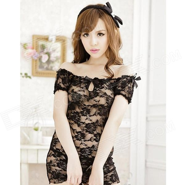 Sexy Lingerie Boat-Neck See-Through Lace Sleeping Dress w/ T-Underpants - Black