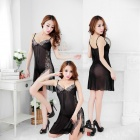 Sexy Lingerie Low-Cut Double-Shoulder Straps See-Through Nightdress w/ T-Underpants - Black