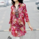 Flowers Pattern Classical National Style Ultra-Slim Women's Chiffon Dress - Red (Size L)