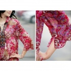 Flowers Pattern Classical Oriental Style Ultra-Slim Women's Chiffon Dress - Red (Size L)