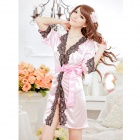 Sexy Women's Viscose Fiber + Lace Bathrobe Nightwear w/ T-Underpants - Pink + Black