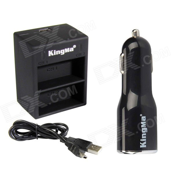 Kingma Dual Battery Charger + Dual USB Car Charger for AHDBT-201 / 301 / 302, GoPro Hero 2 / 3 / 3+ kingma bm020 dual usb dual clot battery