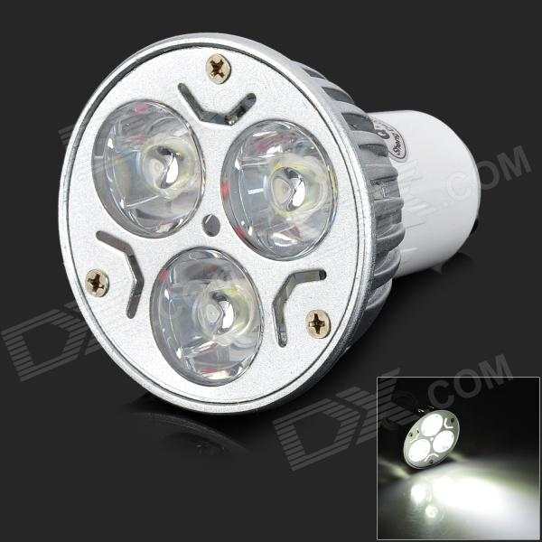 GU10 3W 300lm 6500K 3-LED White Spotlight Bulb - White + Silver (85~265V)