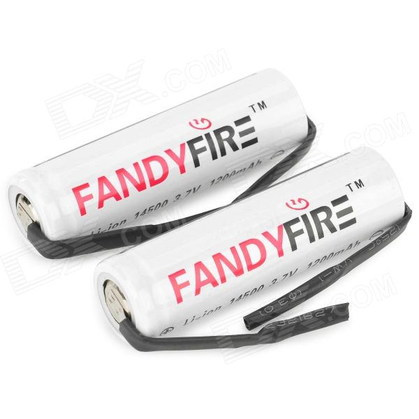 FANDYFIRE A-06 Li-ion 14500 ''1200mAh'' 3.7V Lithium Ion Battery - White + Black (2 PCS) fandyfire protected 14500 rechargeable 3 7v 400mah li ion batteries white pair